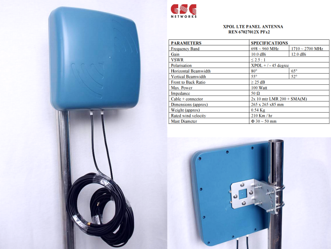 12 dBi cross-polarity antenna 700-2700 MHz