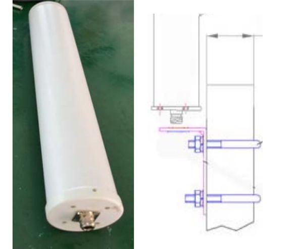 Omnidirectional antenna 700 to 2700 MHz